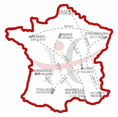 Carte de France rencontres Humacitia fléchée