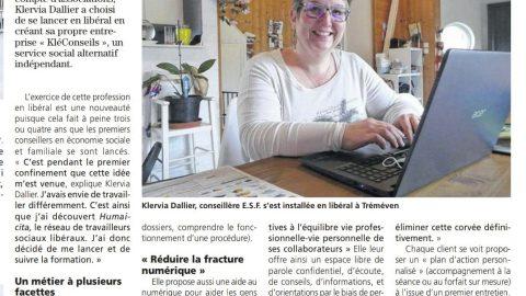 Article de la Presse d'Armor sur KLÉCONSEILS – Klervia Dallier CESF Libérale du réseau Humacitia